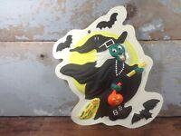 Vintage Mini Plastic 3D Halloween Witch Bat Pumpkin Full Moon Wall Hanging Decor