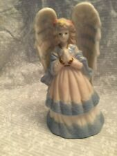 Angel bell ceramic/porcelain China white and blue. 5.5 inches