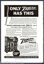 1940 ZENITH FM Radio advertisement, Zenith Microstatic FM model 10-H-571