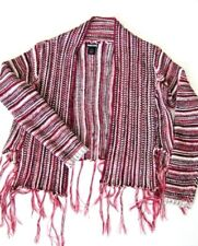 Wet Seal Womens Striped Open Cardigan Sweater Size Medium Fringed Long Sleeve