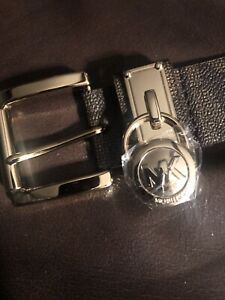 Michael Kors Women's MK Logo Premium Faux Leather Belt Hamilton Lock Size S