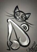 Margarita Bonke Malerei PAINTING erotic EROTIK akt nu art black white cat katze