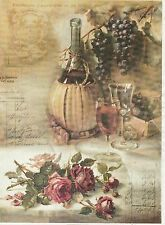 Rice Paper for Decoupage Decopatch Scrapbook Craft Sheet Grapes Wine and Roses