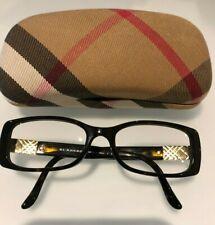 Black Brown Burberry Eyewear glasses.  Prescription lens with case & cloth