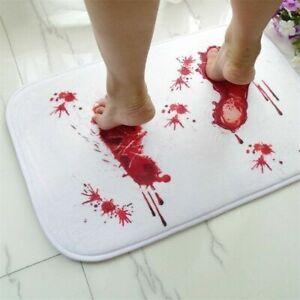 Halloween Bloody Footprint Bathroom Mat Non-Slip Blood Bathmat Pads Home Decor