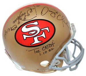 Joe Montana & Dwight Clark Signed San Francisco 49ers Authentic Helmet BAS 24822