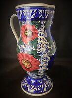 Important (46cm) vase cruche - ceramique vintage polychrome fait main - Sèvres ?