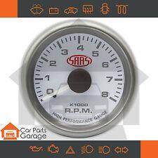 "SAAS 52mm 2"" Tacho Gauge 0-8k RPM Range White Dial Face + Fitting Kit"
