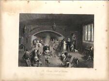 Stampa antica BANCHETTO di NATALE con musica e camino 1845 Old antique print