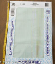 """Microscale Decal HO #91113 Striping 1"""" and 2"""" widths Gold"""