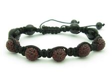 Shamballa Design Macrame Red Crystal Bead Stackable Bracelet Unique Gift Idea
