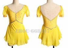 Competition Figure Skating Dress Girls Ice Skating Dresses Custom Spandex yellow