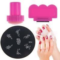 Hot Manicure Template Nail Art Printed Image Polish Plate Scraper Stamper Kit #M