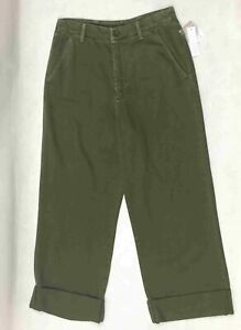 Free People Women's Wide Leg Pants NEW 100% Cotton Green 2 6 8 10 Rolled Cuff
