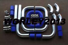 "2.5"" Aluminum Universal Intercooler Turbo Piping & Blue hose T-Clamp kits 12pcs"
