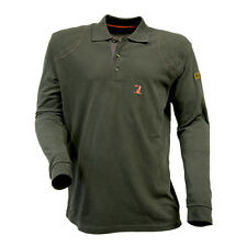 PERCUSSION LONG-SLEEVE POLO SHIRT - OLIVE - Hunting Shooting Fishing All Sizes