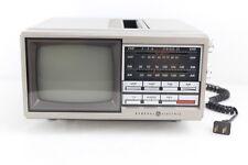 "Vintage GE Portable 5"" TV AM FM Radio Model 7-7150B General Electric W/ Adapter"