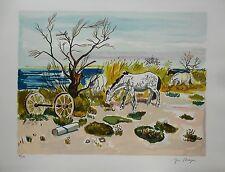 """Yves BRAYER - """"Chevaux au bord de l'étang"""" - Lithographie originale signée"""