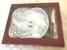 Vintage Arthur Court 2000 Grapevine 8 In Plate With Cheese Server Set NIB Unused