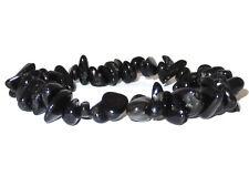 Schwarzer Turmalin Splitterarmband Armband elastisch handarbeit ABE67S
