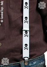 Bretelles à tête de mort noires sur fond blanc montées sur élastique [7507] fete