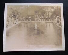 Antique Flapper Edwardian Swimming Pool Race Girls 1920s Sepia Photo 8x10