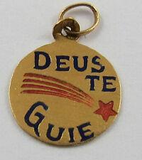 """GC-117 19 KARAT GOLD """"DEUS TE GUIE WITH ENAMEL"""" PORTUGUESE CHARM .35 GRAMS"""