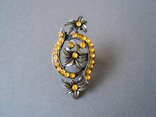 XL Ring aus Zinn mit gelben Strass Steinen 14,3 g Verstellbar ab GR 54