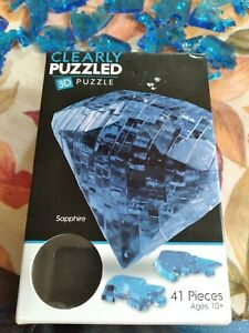 Clearly Puzzled Crystal 3D Puzzle Sapphire. Complete see pictures!!!