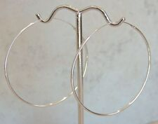 Sterling Silver Endless Thread Hoop Earrings 45mm Polished Finish