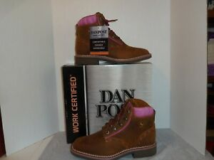 Dan Post #DP59447 Women's Janesville  Leather Boots Tan/Pink Work Shoes