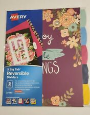 Avery Big Tab Reversible Fashion Paper Dividers 5 Color Design Tabs Love And Joy
