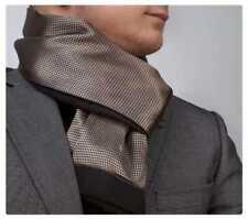 New Mens Double Side Scarf Silk Wool Blend Tan & Brown Diamonds Design
