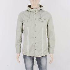 River Island Mens Size S Khaki Green Button Up Hoodie Shirt