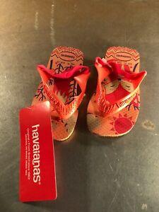Child/Baby Havaianas Pink Fox Rubber Flip-Flops w/Heel Strap- Size: 7C- NWT