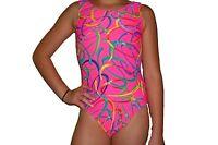 New girls gymnastic leotard neon pink confetti