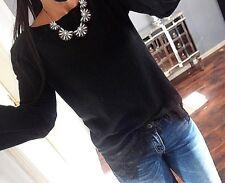 Pullover Fein Strick Pulli Neu S M Neu Schwarz Blogger Spitze Trend Knit Chic A1