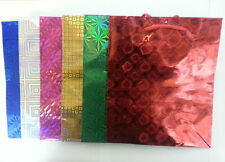 """6 PCS HOLOGRAPHIC 17"""" INCH X 21"""" INCH GIFT BAG WITH CARRY STRINGS"""
