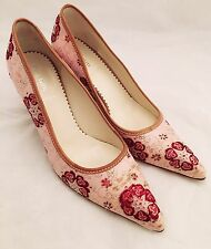 Womens - MIU MIU - Pink Red Embroidered Jacquard Tapestry High Heel Pumps 6.5 37