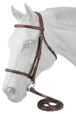English Bridle-Reins - Havana Brown Leather - Raised Stitched - Cob Size