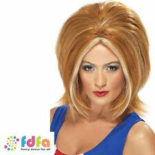90s GINGER SPICE GIRL POWER WIG GERI HALLIWELL womens ladies fancy dress costume