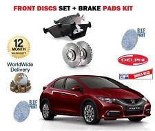 FOR HONDA CIVIC 1.6DT DTEC 1.8 V 2.2DT 2012--> FRONT BRAKE DISCS SET + PADS KIT