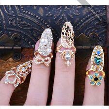 New Beauty Bowknot Crystal Rhinestone Nail Art Knuckle Band Finger Tip Ring Xmas