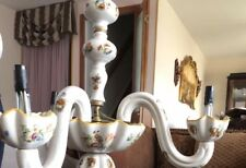 Vintage Italy Hand Painted Crack Porceluan 3 Arms Chandelier