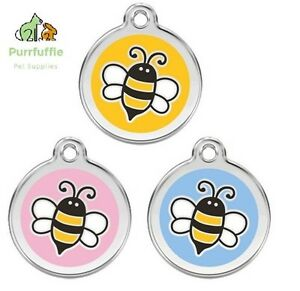 RED DINGO BUMBLE BEE ENGRAVED DOG / CAT IDENTITY PERSONALISED ID TAG 3 COLOURS