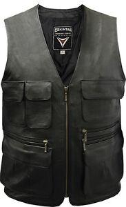 Mens Leather 10 Pocket Motorcycle Shooting Hunting Waistcoat Vest Black Jacket