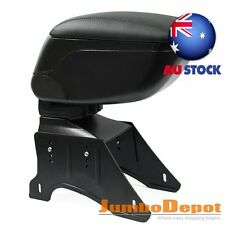 AU Black Leather Center Console Armrest Storage Box w/Bracket Universal For Car