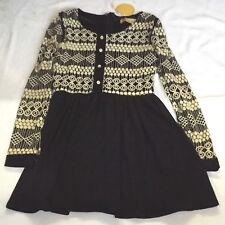 "BNWT M LOVESTRUCK BLACK & BEIGE EMBROIDERED SHEATH PARTY DRESS CHEST 34"" 86cm"