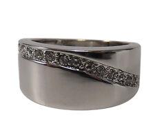 "Women's Ring "" geschwunge Zirconia "" - Size 8- >18mm - Rhodium Plated -inkgrafix"