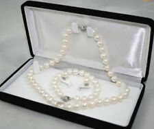 7-8MM White Akoya Cultured Pearl Necklace Bracelet Earring Set LL008
